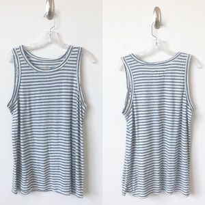 Current/Elliott Distressed Tank Top Striped -L